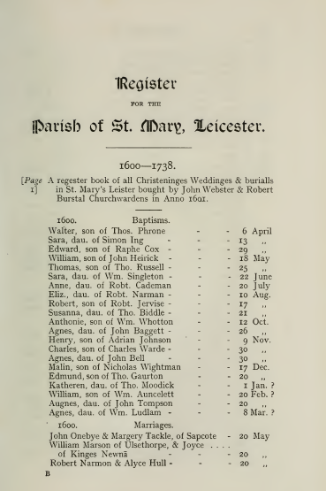 St marys parish register page